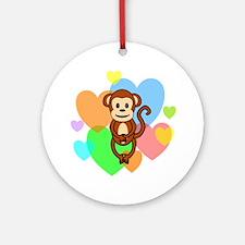 Monkey Hearts Ornament (Round)
