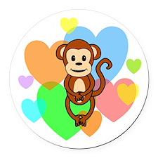 Monkey Hearts Round Car Magnet