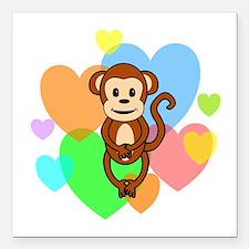"Monkey Hearts Square Car Magnet 3"" x 3"""