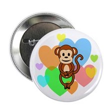 "Monkey Hearts 2.25"" Button"