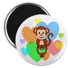 Monkey Hearts Magnet
