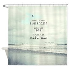 Ocean With Typography Shower Curtain
