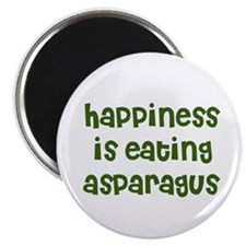 "happiness is eating asparagus 2.25"" Magnet (10 pac"