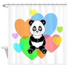 Panda Hearts Shower Curtain