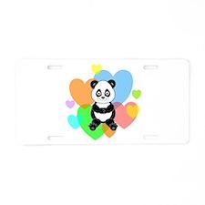 Panda Hearts Aluminum License Plate