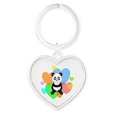 Panda Hearts Heart Keychain
