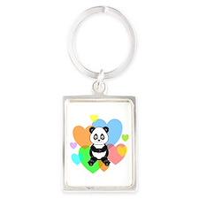 Panda Hearts Portrait Keychain