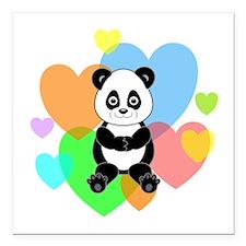 "Panda Hearts Square Car Magnet 3"" x 3"""