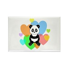 Panda Hearts Rectangle Magnet