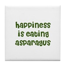 happiness is eating asparagus Tile Coaster