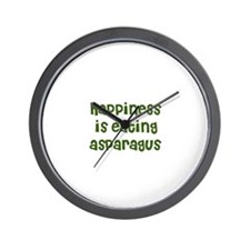 happiness is eating asparagus Wall Clock