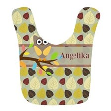 Owl On Branch Over Leaves Personalized Bib