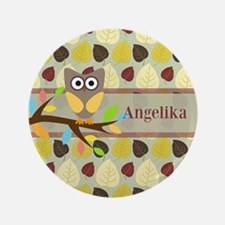 """Owl On Branch Over Leaves Personalized 3.5"""" Button"""