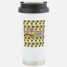 Owl On Branch Over Leaves Personalized Travel Mug