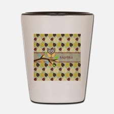 Owl On Branch Over Leaves Personalized Shot Glass