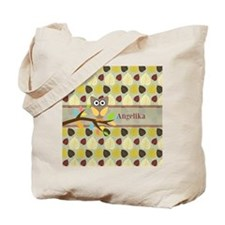 Owl On Branch Over Leaves Personalized Tote Bag