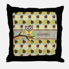 Owl On Branch Over Leaves Personalized Throw Pillo