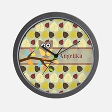 Owl On Branch Over Leaves Personalized Wall Clock