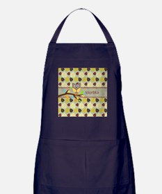 Owl On Branch Over Leaves Personalized Apron (dark