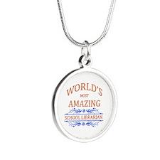 School Librarian Silver Round Necklace