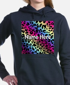 Personalized Neon Leopard Women's Hooded Sweatshir