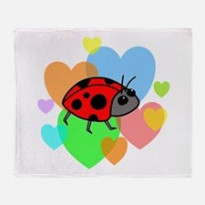 Ladybug Hearts Throw Blanket
