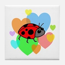 Ladybug Hearts Tile Coaster