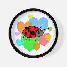 Ladybug Hearts Wall Clock