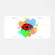 Ladybug Hearts Aluminum License Plate