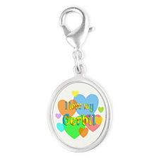 Gerbil Hearts Silver Oval Charm