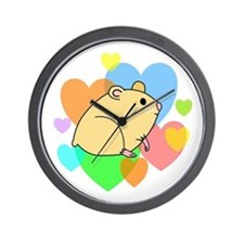 Hamster Hearts Wall Clock
