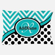 Teal Chevron Black Dots Monogram Pillow Case