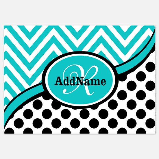 Teal Chevron Black Dots Monogram 5x7 Flat Cards