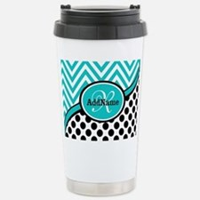 Teal Chevron Black Dots Travel Mug