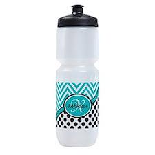 Teal Chevron Black Dots Monogram Sports Bottle