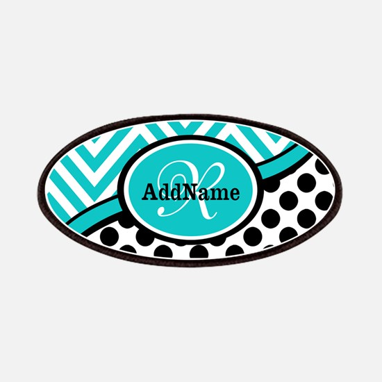 Teal Chevron Black Dots Monogram Patches