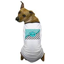 Teal Chevron Black Dots Monogram Dog T-Shirt