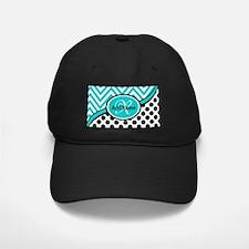 Teal Chevron Black Dots Monogram Baseball Hat