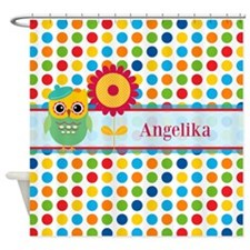 Cute Owl and Polka Dots Personalize Shower Curtain