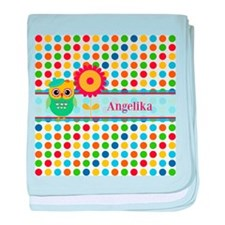 Cute Owl and Polka Dots Personalized baby blanket