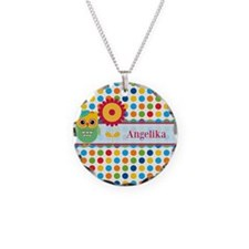 Cute Owl and Polka Dots Pers Necklace Circle Charm