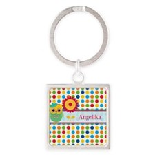 Cute Owl and Polka Dots Personaliz Square Keychain