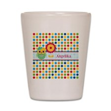 Cute Owl and Polka Dots Personalized Shot Glass