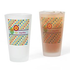 Cute Owl and Polka Dots Personalize Drinking Glass
