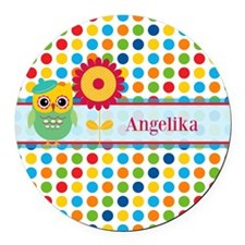 Cute Owl and Polka Dots Personali Round Car Magnet