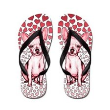 Chihuahua Pink Hearts Flip Flops