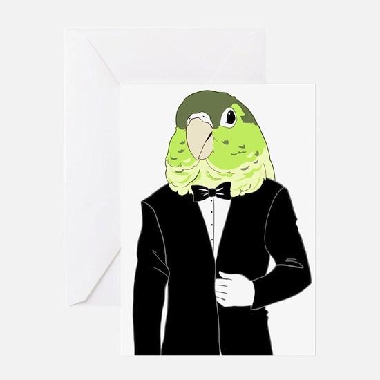 Green Cheek Conure Tuxedo Greeting Cards