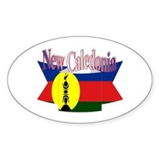 New Caledonian flag ribbon Oval Decal