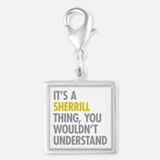 Its A Sherrill Thing Silver Square Charm