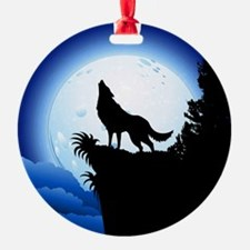 Wolf Howling at Blue Moon Ornament